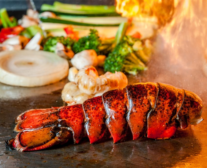 Teappan lobster on the grill with vegetables