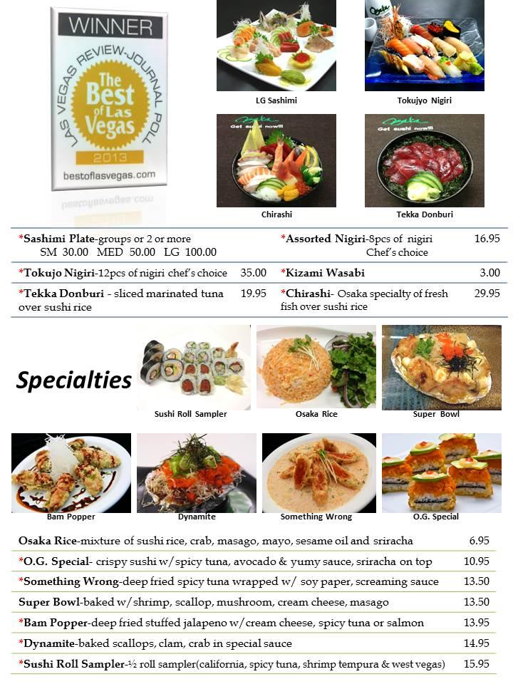 Osaka Sushi Menu Las Vegas Slide1