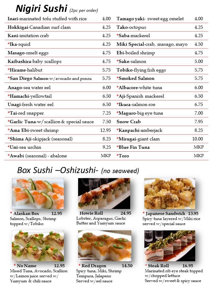 Osaka Sushi Menu Las Vegas  Slide2