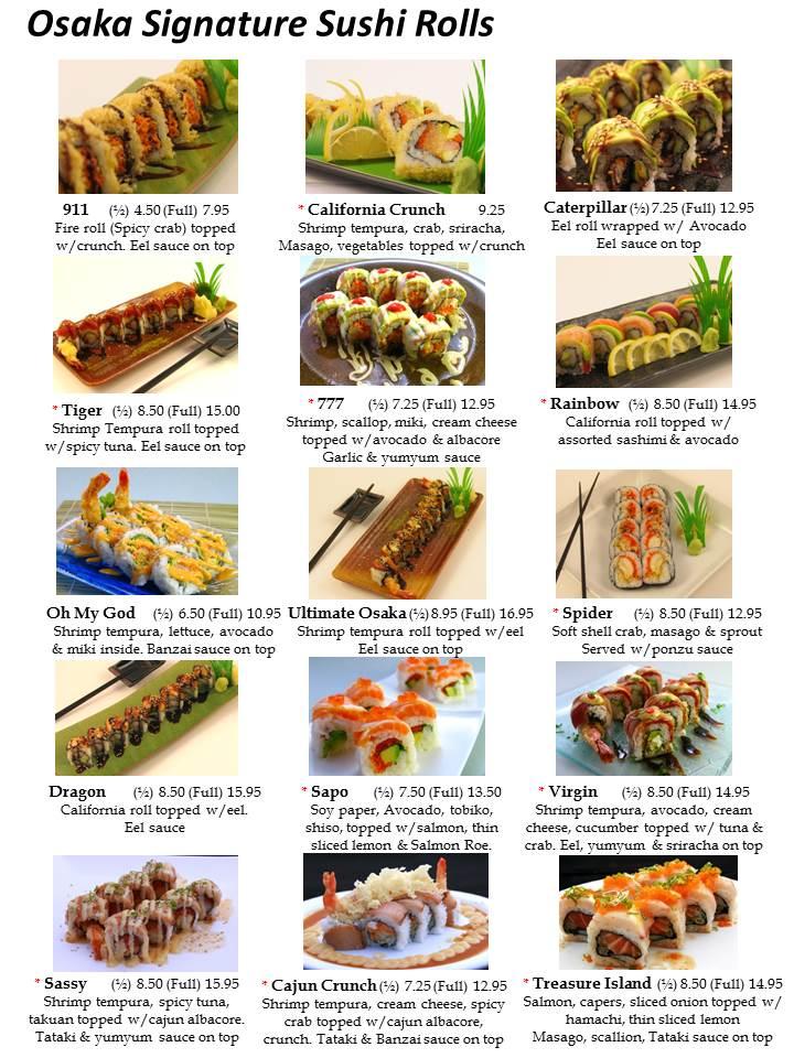 Osaka Sushi Menu Las Vegas Slide5