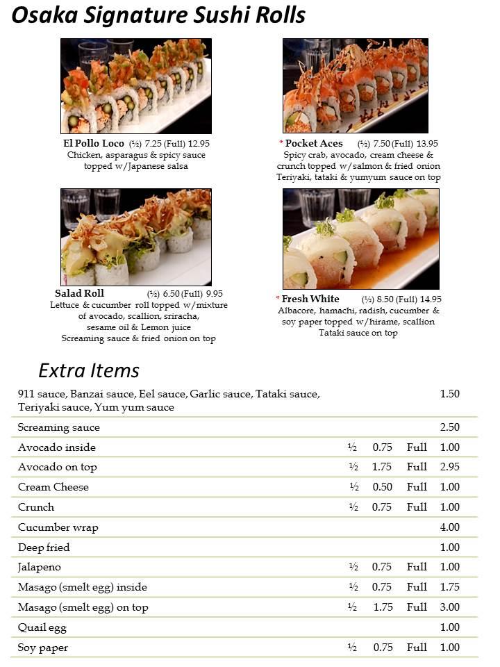Osaka Sushi Menu Las Vegas  Slide6