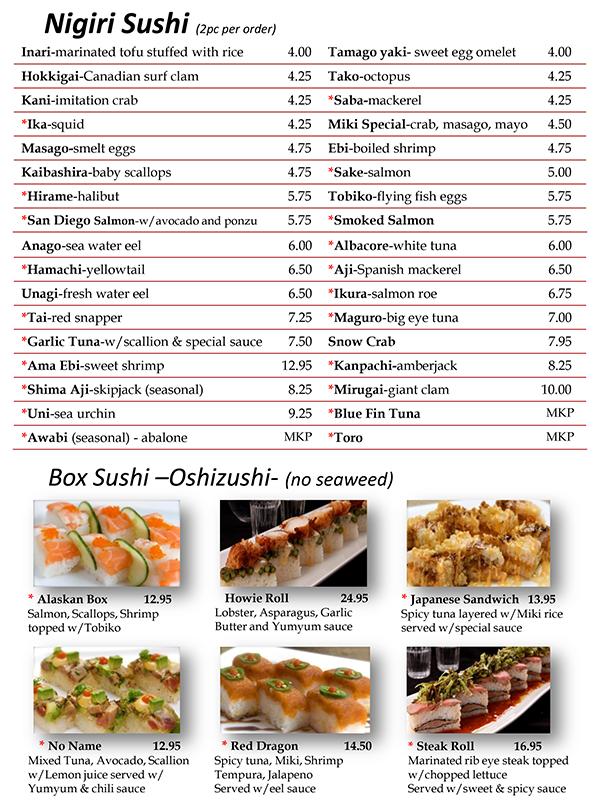 Sushi Menu Page 2