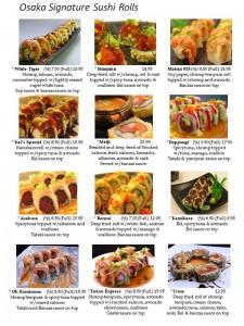 signature sushi rolls, banzai, kimikaze, and asakusa