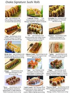 osaka signatuer sushi rolls, california roll, 911 sushi roll