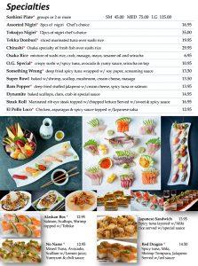 Sushi Menu Page 1