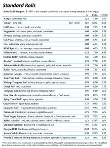 Sushi Menu Page 4
