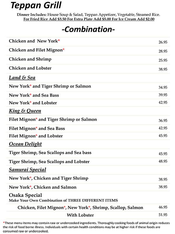 Teppanyaki Grill Menu Page 2