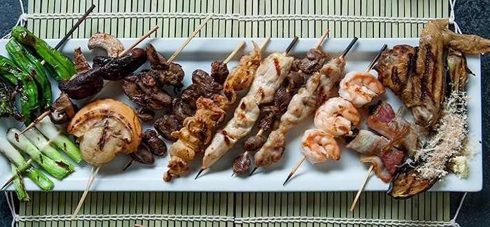 Yakitori selection of chicken skewers at Osaka Japanese restaurant in Las Vegas NV