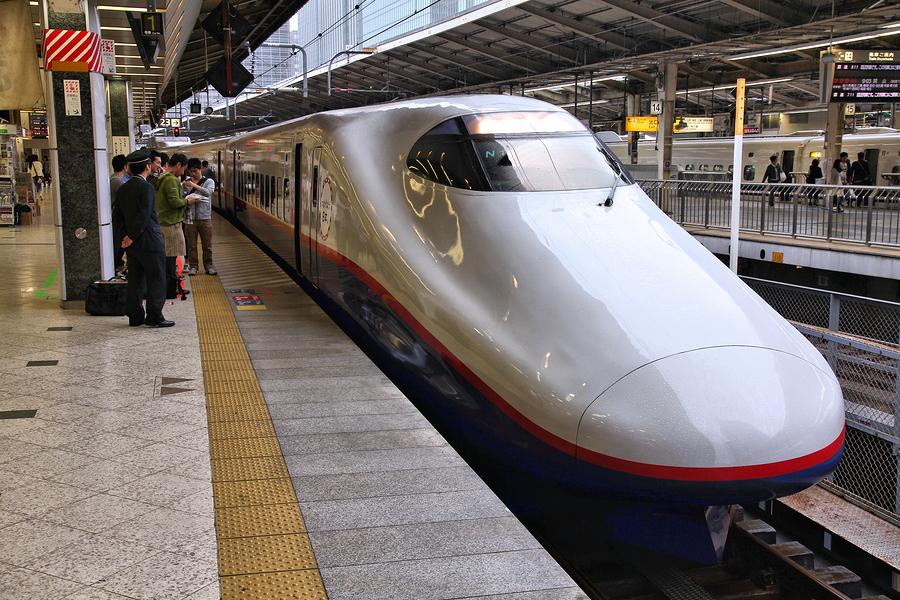 TOKYO JAPAN -Shinkansen Hayate train at Tokyo Station.