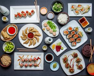 Osaka sushi potsticker and rice dinner