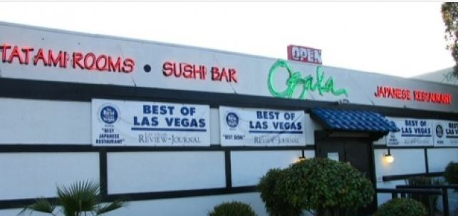 Osaka Japanese Bistro on Sahara Ave Las Vegas with Best of Las Vegas banners