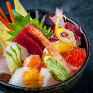 Chirashi bowl fresh seafood in ricebowl