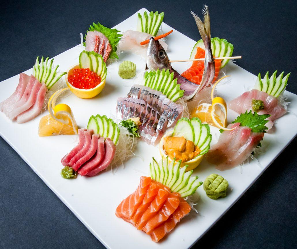 Osaka sashimi platter of fresh sliced fish arranged in beautiful display