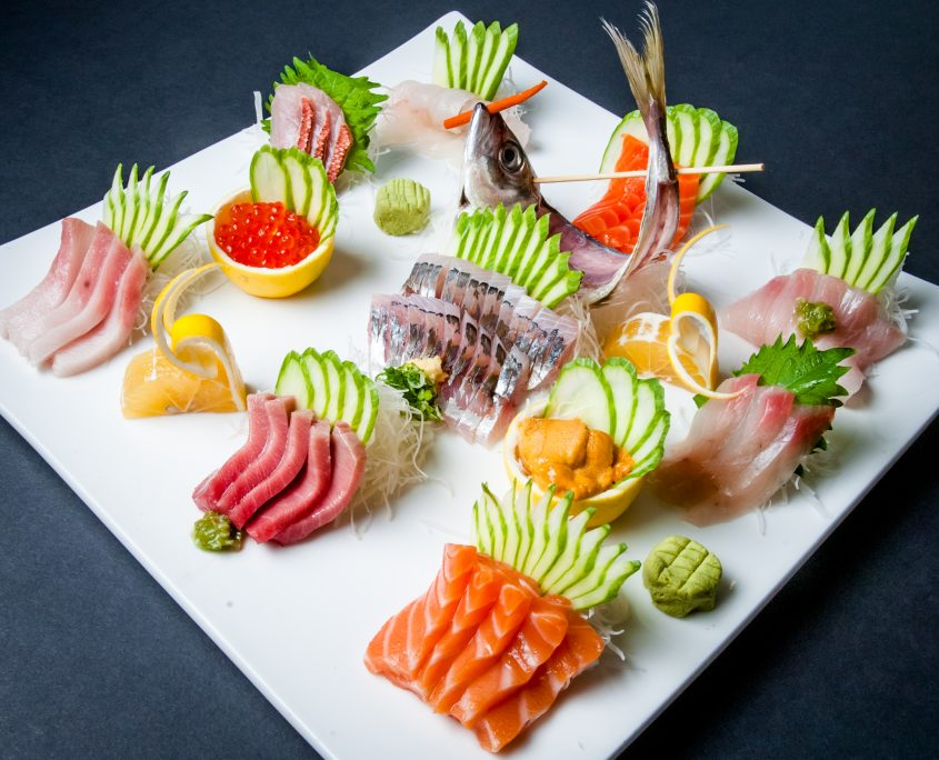 Osaka sashimi platter of fresh sliced fish arranged in beautiful display