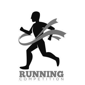 Drawing of marathon runner breaking through finish line ribbon