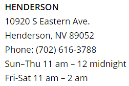 Osaka Henderson Location Hours