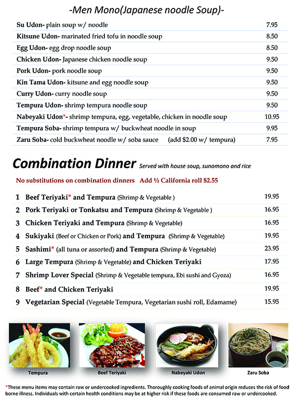 Osaka Kitchen Dinner Combination Menu