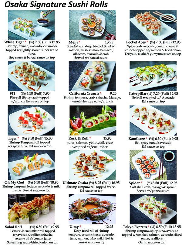 Osaka Sushi Signature Rolls Menu