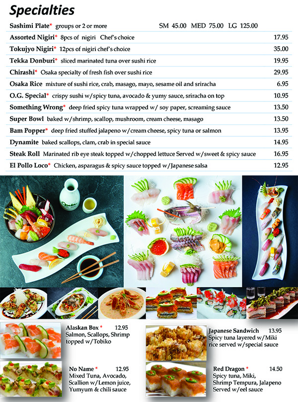 Osaka Sushi Specialties Menu