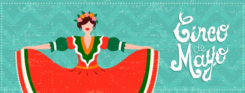 cinco de mayo banner with Mexican dancer illustration